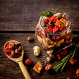Different tipes of nuts in jar. Royalty Free Stock Photos