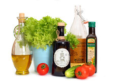 Different tipes of salad oil (corn and olive) Royalty Free Stock Photography