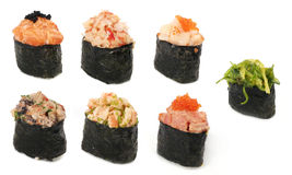 Different tipes of sushi. Isolated on white Royalty Free Stock Image