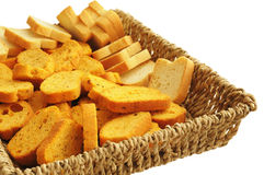 Different toasts in artisan basket Royalty Free Stock Photography