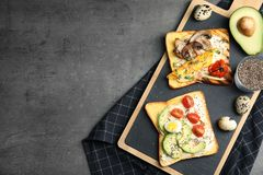 Different toasts with avocado, mushrooms, cherry tomatoes and chia seeds served on grey table, top view. Space for text royalty free stock image