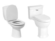 Different toilet bowl isolated on white Royalty Free Stock Photography