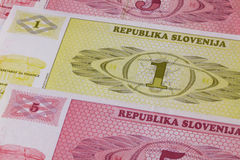 Different Tolar banknotes from Slovenia Stock Photo