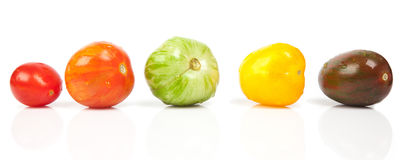 Different tomatoes shapes and colors Stock Photo