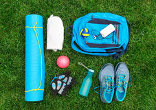 Different tools and accessories for sport. Royalty Free Stock Photos