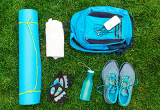 Different tools and accessories for sport. Royalty Free Stock Photo