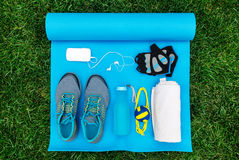 Different tools and accessories for sport. Fitness concept royalty free stock photo