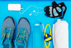 Different tools and accessories for sport. Fitness concept royalty free stock photography