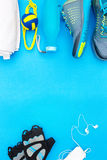 Different tools and accessories for sport. Fitness concept Stock Images