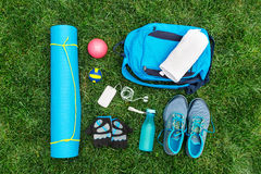 Different tools and accessories for sport. Royalty Free Stock Image