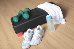 Different tools for fitness in a gym Stock Image