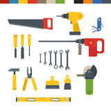 Different tools flat collection Royalty Free Stock Photo