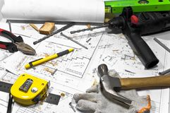 Different tools are lying on carpenter workbench. Stock Photos
