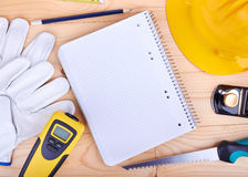 Different tools and notebook Stock Photos