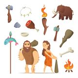 Different tools from prehistoric period. Primitive old. Weapons for caveman. Primitive neanderthal hammer with weapon illustration Royalty Free Stock Photography