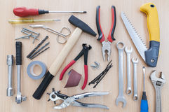 Different tools. Set on a wooden background Stock Photo