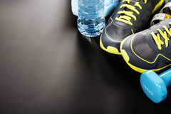 Different tools for sport. On grey background stock photos