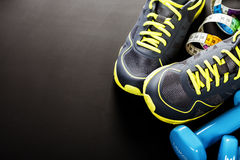 Different tools for sport. On grey background stock images