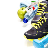 Different tools for sport and healthy food Stock Images