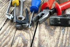Different tools on the table. Close up photo Stock Photography