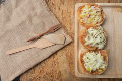Different topped mini pizza buns Royalty Free Stock Photography