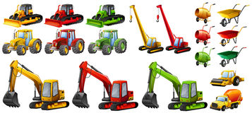 Different tractors and construction equipment Stock Photo