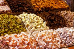 Different traditional  Turkish delight on market in Istanbul, Turkey. Different traditional  Turkish delight on market Grand Bazaar in Istanbul, Turkey royalty free stock image