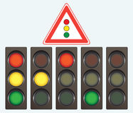 Different traffic light and road sign royalty free illustration