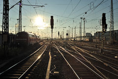 Trains on railroad in Frankfurt trainstation Royalty Free Stock Photos
