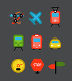 Different transport color icons Stock Photo