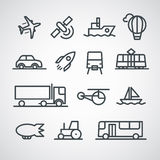 Different transport icons collection Royalty Free Stock Images