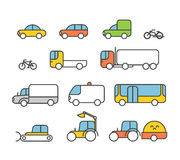 Different transport silhouette icons collection Royalty Free Stock Photos
