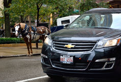 Different transportation method in Chicago downtown. Chicago city urban street view and transportation. Photo taken in October 5th, 2014 Royalty Free Stock Photo