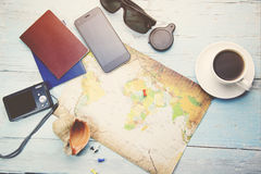 Different travel items. 