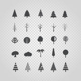 Different tree silhouette vector set  on transparent Royalty Free Stock Photography