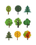 Different trees collection isolated on white Royalty Free Stock Photos