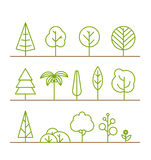 Different trees collection on white Royalty Free Stock Photo