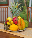 Different tropical fruits of Hawaii on a plate Stock Photos