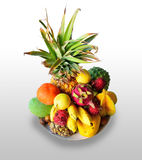 Different tropical fruits of Hawaii on a plate Stock Photography