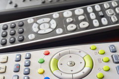 Different tv and hifi remote set control detail stock images