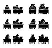 Different type of animals using computer to surf the Internet. royalty free illustration