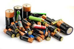 Different type of batteries, rechargeable and disp Royalty Free Stock Photos