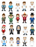 Different Type Cartoon Characters Professions stock illustration