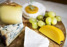 Different type of cheese on the plater Royalty Free Stock Image