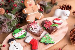 Different type of christmas cookies with decoration stock images