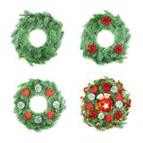 Different type of Christmas Wreath with Ornaments on White Royalty Free Stock Photo