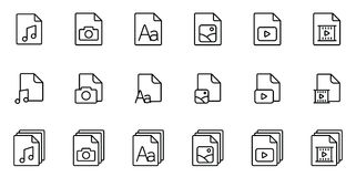 Different type file icons set on white background. Thin line different type file icons set on white background Stock Images