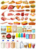 Different type of food and dessert. Illustration Stock Images