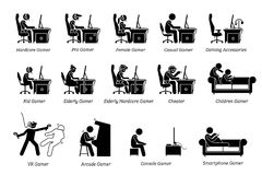 Different type of gamers icons Stock Photography