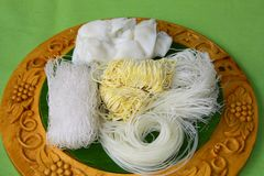 Different type of noodle on wood tray, on green back ground. These are all Thai noodle royalty free stock image
